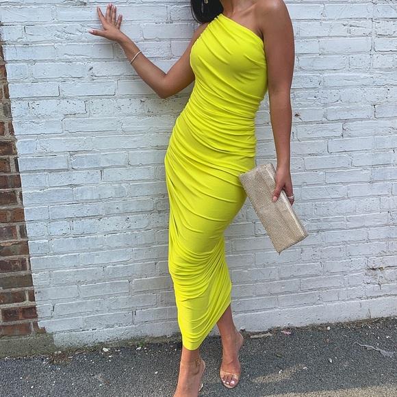 Norma Kamali Dresses & Skirts - Normal Kamali bright yellow one shoulder dress
